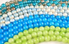 8mm Vibrant Glass Beads, Blue 7 inch strand approx 20pcs VG300