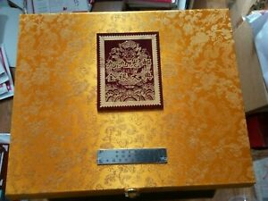 99 Proof Gold and Silver Plated China Dragon Stamp In A Stunning Box--very rare