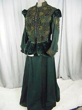 Antique 1800's Victorian Green Beaded Jacket & Skirt-Bust 38/Waist 27-28/S-M