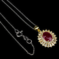Oval Red Ruby 9x7mm Cz 14K Yellow Gold Plate 925 Sterling Silver Necklace 18 Ins