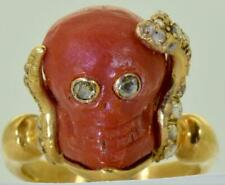 Antique Georgian 18k gold,Diamonds Snake&Skull Coral Cameo Memento Mori ring.