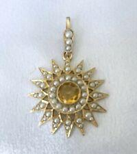 Fine Antique Court Jewellery, Citrine & Pearl Pendant