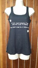 Womens New Black Paw Print Tank Top Against Animal Cruelty For Animal Lovers