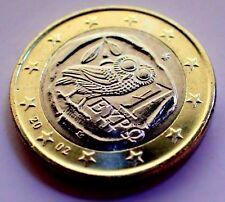 GREECE 2002 1 euro (Athens) No Mintmark Owl Bi Metal UNCIRCULATED