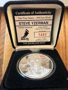 The Highland Mint One Troy Ounce Silver Medallion Steve Yzerman