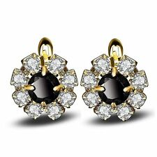 Black and Clear Cubic Zirconia Gold Plated Cluster Earrings Ginger Lyne...