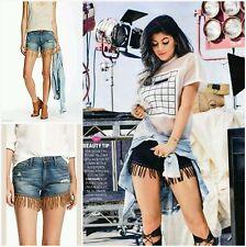 $178 DL1961 Seen Kylie Jenner CELEBRITIES Denim Destroyed Fringe Shorts~28 M3020