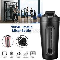 700ML Stainless Steel Fitness Sport Water Bottle Protein Milkshake Shaker