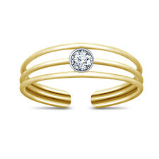 Ring 10k Yellow Gold Over Solitaire silver Three-Row Diamond Adjustable Toe