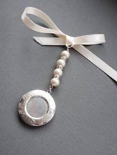 A Vintage Wedding Bouquet Charm Embossed  Round Silver Locket & Organza Gift Bag