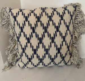 """Boho Chic Accent Pillow Fringed 100% Cotton Duck Feather Fill 22"""" Square Ivory a"""