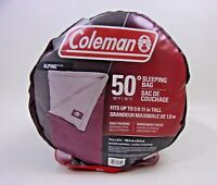 """Coleman Alpine 50 DEGREE SLEEPING BAG, Maroon Fits Up To 5' 11"""" Tall"""