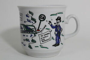 Euro Tunnel Map Mug Cup Made in Germany Ceramic German Writing STEPHANSKIRCHEN