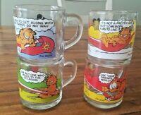 Set of 4 Vintage 1978 McDonalds Garfield Glass Coffee Mug Complete Glasses