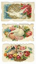 3 White Dove HIDDEN NAME Victorian Calling Cards Embossed ROSES Friendship Hands