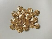 6 Large Gold Metal Flower Buttons 30mm Jacket Coat Cardigan Arts & Crafts (145)