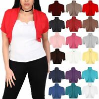 Plus Size Womens Open Cardigan Short Shrug Crop Ladies Short Sleeves Bolero Top