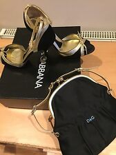Dolce Gabbana Black Shoes Size 38, Uk 5 And Matching Bag, Party, Races, Cruise