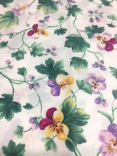 Mini Multi-Color Pansies Green Leaves Cotton Fabric Quilt Sew OOP BTY Vintage