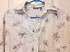 apt. 9 Women's Shirt Top Career Floral Button Down White Brown M Medium