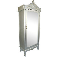 French Silver Chateau Single Armoire with Full Mirror Door Boudoir Wardrobe