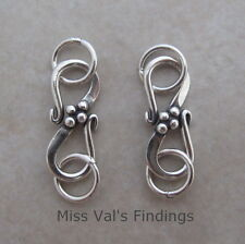 2 sterling silver 925 Bali S hook jewelry clasp beaded center