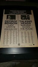 Talking Heads George Benson Rare Original Radio Promo Poster Ad Framed!