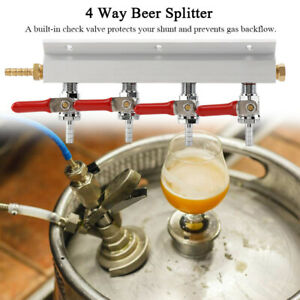 """4Way 1/4"""" Beer Gas Manifold Distribution CO2 Splitter Valves Home Brewing Tool"""
