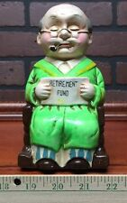 Retirement Fund Grandfather  Ceramic Vintage ? Savings Bank Piggy Geat Shape 191