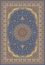 7 x 10 New Tabriz Style 900 KPSI Qum Blue Belgique Collection  Bamboo Silk