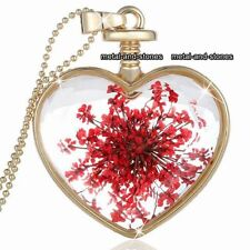 Large Gold Heart & Red Flowers Necklace Love - Gifts For Her Daughter Mum Women