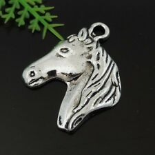Antique Silver Tone Alloy Horse Head Shaped Pendant DIY 25x20mm Pack of (x15)