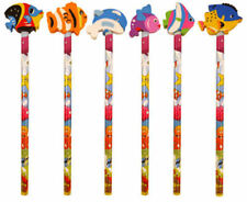 6 Sealife Pencils & Erasers - Pinata Rubbers Loot/Party Bag Fillers Wedding/Kids