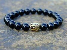 Buddha Black Onyx 2 Natural Gemstone Bracelet 7-8'' Elasticated Healing Stone