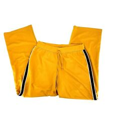 Metrostyle Womens Size Large Yellow Drawstring Side Striped Jogger Track Pants
