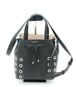 NWT Tory Burch Block-T Grommet Nano Drawstring Black Crossbody Bucket Bag $395