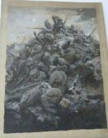 CHARLES DE JANKOWSKI PEINTRE POLONAIS DESSIN ENCRE GUERRE 14-18 DATE 1914