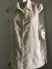 Alfred Dunner SZ 8 New with Tags Ivory Sleeveless polyester Embroidered flowers