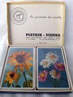 """Rarität:  Piatnik Spielkarten - Plastic covered cards - """"Blumen""""  Doppeldeck"""