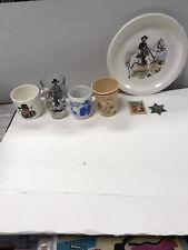 Vintage Hopalong Cassidy Mug Black Stenciled Milk Glass And Other Hoppy Items.