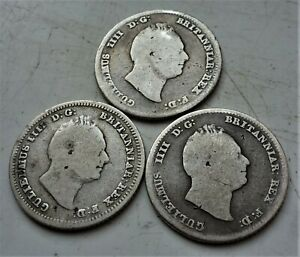 3 x WILLIAM IV SILVER FOURPENCE COINS
