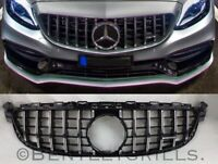MERCEDES W205 C CLASS AMG 63 GRILLE PANAMERICANA GTR GRILL C63 ONLY BLACK/CHROME