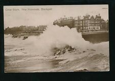 Lancashire BLACKPOOL New Promenade rough seas 1913 RP PPC