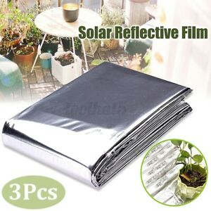 3x Reflective Mylar Film Plants Garden Greenhouse Covering Foil Sheets Silver