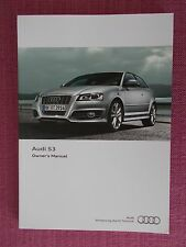 AUDI S3 (2008 - 2012) OWNERS GUIDE - HANDBOOK - OWNERS MANUAL (AU 547)