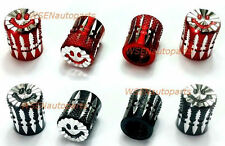 Valve Cap 4 Red 4 Black Wheel Tyre Stem Cover Screw Caps Car Ute Bike SmileyAA