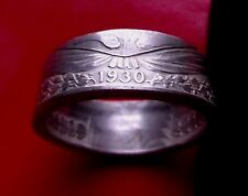 SILVER RING RARE 1930 PANAMA MEDIO SILVER COIN RING SIZE 12.5, 10MM High and 10G