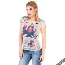Hüftlange Damen-Shirts mit Rundhals-Ausschnitt aus Polyester