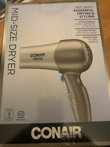 Conair 1875 Watt Mid-Size Hair Dryer Styler, Silver Gray, NEW 2 temp settings