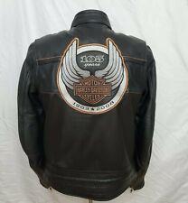 Harley Davidson Mens Medium M 105th Anniversary Black Leather Jacket 97105-08VM